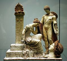 """mini-girlz: """"Figurine with Hermes and female figure sitting on Tomb - at the Archaeological Museum of Catalonia, Barcelona """" Ancient Greek Art, Ancient Rome, Ancient Greece, Ancient History, Terracota, Historical Artifacts, Ancient Artifacts, Roman Sculpture, Sculpture Art"""
