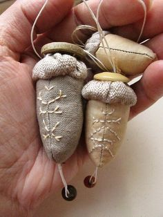 textile acorns, natural dye and stitch, stuffed toy