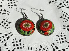 Red #poppies #earrings #handmade of wood от VivaArcenciel на Etsy