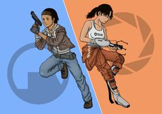 Alyx Vance and Chell by NeroVanderhaven