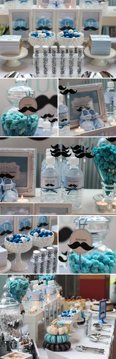 Hugo's Full Month Mustache Themed Dessert Table | The Little Umbrella