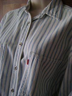 Vintage Levi's Ticking Denim Shirt womens Button Front Sz M Blue & White Stripe #Levis #ButtonFrontShirt