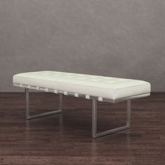 andaluca white and stainless steel modern leather bench andalucia stainless modern white leather bench