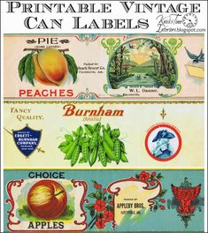 Antique Tin Can Fruit Label Printables via Knick of Time @ http://knickoftimeinteriors.blogspot.com/