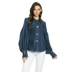 Bishop Blouse DENIM PUFF SLEEVE BLOUSE WITH BUTTON CLOSURE Tops Blouses
