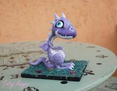 Baby dragon polymer Clay band made and painted