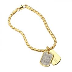 """STELLA VALLE """"ACHIEVE"""" BRACELET...Gold or rhodium plated Approximately 7"""", 7.5"""" or 8.5"""" snake chain with lobster claps and 2 dog tags Swarovski crystal on dog tag Engraved with """"Achieve"""" on other dog tag"""