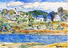Frederick Childe Hassam >> Newfields, New Hampshire  |  (Watercolor, artwork, reproduction, copy, painting).