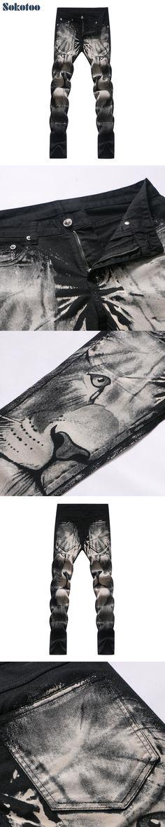 Sokotoo Men's fashion lion print jeans Slim straight black stretch denim pants Long trousers