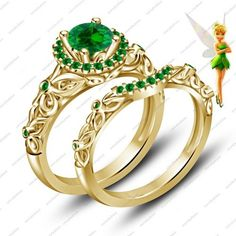 Disney Tinker Bell Fairies Engagement Ring Band Gold Finish Bridal Set via VorraFashion