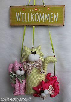Girlande Katzen Landhaus Romantik Nostalgie Tilda Stenzo Stoff...