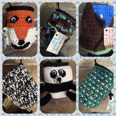 Chalk bags for rock climbing and bouldering. Crochet.