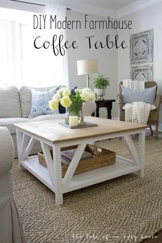 Modern-day Inside Style In Your Laundry Space How To Build A Diy Modern Farmhouse Coffee Table Classic Square Coffee Table With Painted Base And Rustic Stained Table Top, Complete With Bottom Shelf For Storage. Ideal For Living Rooms With Sectionals Modern Farmhouse Table, Farmhouse Furniture, Diy Furniture, Furniture Design, Rustic Farmhouse, Rustic Furniture, Modern Furniture, Furniture Stores, Antique Furniture