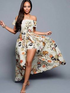 63098dd96ec Neck Off The Shoulder Short Sleeves Floral Print Beige Ankle Length Dress