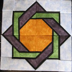 Stained Glass Quilt Block 6, called Interlocked Squares. From Foundation Pieced Stained Glass Quilts by Liz Schwartz and Stephen Seifert.