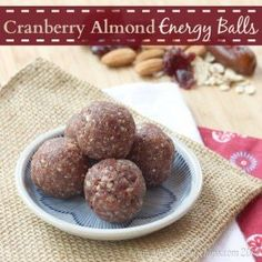 Cranberry Almond Energy Balls made from just four ingredients are perfect for on-the-go snacking. Make tiny ones for Baby Bites! Nut Free Snacks, No Bake Snacks, Healthy Baking, Healthy Treats, Vegan Treats, Healthy Food, Yummy Food, Vegan Energy Bars, Cranberry Almond