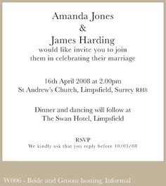 Sample of wedding invitation wording emily pinterest sample wedding invitation wording couple hosting minimalist design stopboris