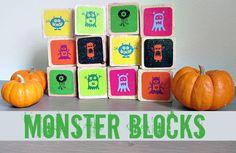 Make monster blocks for decor and games using printables and Mod Podge. #MPHalloween