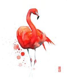 Animal fine art originals and premium quality prints by JadeWuStudio Wildlife Paintings, Wildlife Art, Watercolor Animals, Watercolor Paintings, Watercolors, Painting Techniques, Painting & Drawing, Flamingo, Giclee Print