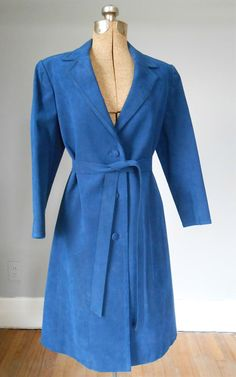 1960s Blue Genuine Suede Trench Coat Tie Belt by MDMvintage