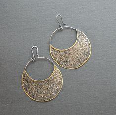 Brass mandala earrings, brass crescent earrings, etched brass, silver and brass, handmade artisan jewelry