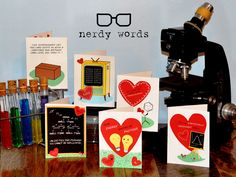 Nerdy Science Valentines from Nerdy Words. Chemistry, physics, biology, molecular biology, computer science and statistics themed cards! nerdywords.ca