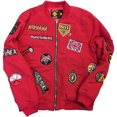 """Rock Hard Vintage """"Hall Of Fame"""" Bomber Jacket """"Cherry Red"""" ($175) ❤ liked on Polyvore featuring outerwear, jackets, vintage bomber jacket, blouson jacket, rock jacket, vintage flight jacket and red jacket"""
