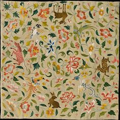 Textile with Animals, Birds, and Flowers  Eastern Central Asia. Silk embroidery.  I love the whimsey of this piece.