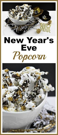 New Year's Eve Popcorn- This New Year's Eve popcorn is an easy (and yummy) party dessert! The combo of crunchy popcorn, sweet chocolate, and pretty sprinkles makes for a great treat! | New Year's food, appetizer, party food, snack, New Year's Eve dessert, gold, stars, quick recipe, fast appetizer recipe