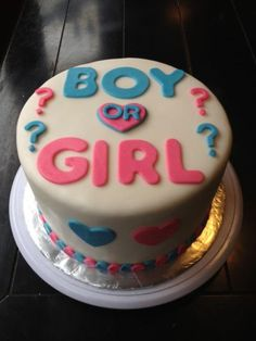 Boy or Girl Cake! When you cut it and its blue, it's a boy. If its pink, it's a girl! Such a good idea
