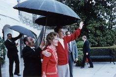 White House staff shelter First Lady Nancy and President Ronald Reagan