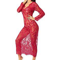 ohyeahlady Femme Ensemble de Lingerie Transparente et Culotte Grande Taille Haute en Dentelle Floral Col en V 2 Pcs R/étro Noir Rouge Rose Blanc
