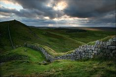 Hadrians Wall by Housesteads. England.