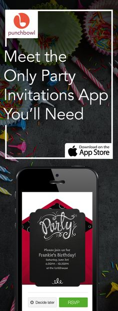 Paper invites are too formal, and emails are too casual. Get it just right with online invitations from Punchbowl. We've got everything you need for your party.     https://itunes.apple.com/us/app/id628215241?mt=8