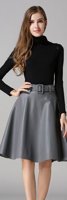 Grey Belted A Line Skirt