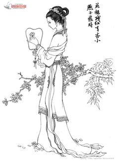 中国古典美女 白描 - Google Search