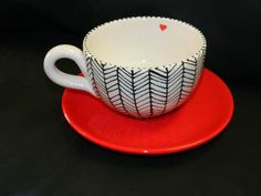 Mug and saucer idea from Pinterest made at a Paint Your Own Pottery Studio.