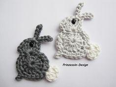 Häkelapplikationen - Hasen - ein Designerstück von Prinzessin-Design bei DaWanda