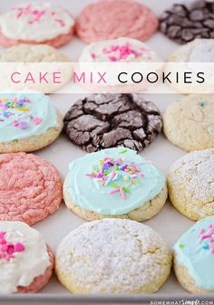 3 Ingredient Cake Mix Cookies 3 Ingredient Cake Mix Cookies are soft and chewy and super delicious! - Cake mix cookies are soft and chewy and super delicious! Plus, they only require 3 ingredients making them essentially a no-fuss fantastic treat. Strawberry Cake Mix Cookies, Lemon Cake Mix Cookies, Chocolate Cake Mix Cookies, Cake Mix Cookie Recipes, Lemon Cake Mixes, Cupcake Recipes, Baking Recipes, Dessert Recipes, Cake Box Cookies