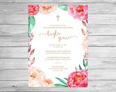 Floral Baptism Invite Christening Invitation by mocapaperco