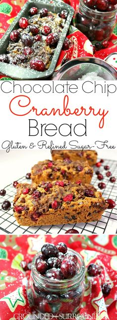 """This gluten free Cranberry Chocolate Chip Bread loaf is a sweet and easy treat to bake! Baking your favorite recipes is always fun, especially during the holidays! The fresh tart cranberries are tamed by the addition of mini chocolate chips and coconut sugar. Grab the bag of frozen cranberries you bought during Christmas and bake this healthy homemade quick bread. This is the best """"healthified"""" cranberry bread recipe I have found!"""