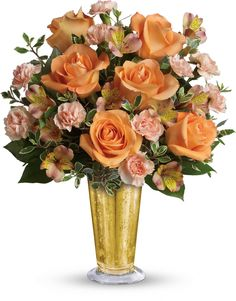 nice Southern Belle Bouquet Full of charm. Orange roses and alstroemeria are arranged in our gold mercury glass julep for a stunning effect. Order Flowers, Flowers Online, Pretty Flowers, Fresh Flowers, Send Flowers, Funeral Flowers, Wedding Flowers, Thanksgiving Flowers, Tissue Paper Flowers