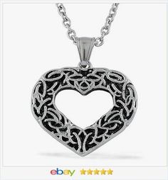 50% OFF #ebay http://stores.ebay.com/JEWELRY-AND-GIFTS-BY-ALICE-AND-ANN Heart Pendant Stainless Steel with chain USA Seller