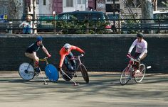 Enthusiast playing bike polo, one of the many activities the fixed wheel makes possible.