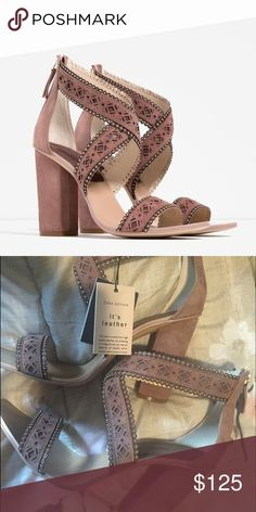 ZARA LASER CUT HIGH HEELS Brand new with tags, MUAVE dusty rose color, with rustic gold details, zips in the back, size 38 and 39, US 7.5 and 8 comes in box, block heel design, suede feel. Zara Shoes Heels