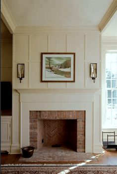 10 Seductive Clever Tips: Fireplace Built Ins Tiny House painted fireplace brick.Faux Fireplace With Tv Above fireplace decorations marble tiles.Old Fireplace Brick. Brick Fireplace Makeover, Farmhouse Fireplace, Home Fireplace, Fireplace Surrounds, Fireplace Design, Fireplace Ideas, Fireplace Brick, Fireplace Molding, Herringbone Fireplace