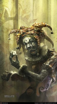 """""""Are you lucky ?"""" by Roberto F. Castro [=> http://robertofc.cgsociety.org/art/creature-photoshop-harlequin-clown-scary-horror-character-fantasy-game-dice-are-you-lucky-2d-906189 ]"""