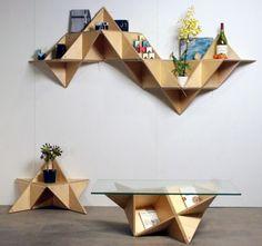 Triangle Shelf - Estante modular triangular que otimiza espaços