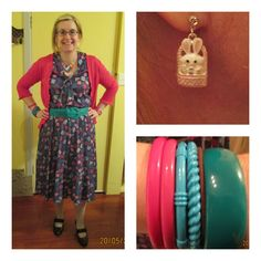 purple pink turquoise green tie collar dress with pleated skirt, belt, and shoes all from St Vincent de Paul.  Cardigan from Savemart, various thrifted bangles.  Heart necklace made by my dear daughter.  Cute bunny earring from Equip.