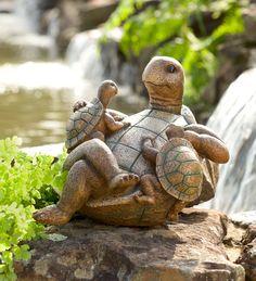 Turtle Family Garden Sculpture in Garden Sculptures Cute Turtles, Baby Turtles, Sea Turtles, Baby Animals, Cute Animals, Family Sculpture, Turtle Time, Garden Figurines, Turtle Figurines